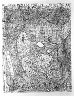 William T. Wiley (American, born 1937). <em>Line Fever</em>, 1978. Etching on paper, sheet: 32 3/8 x 26 1/8 in. (82.2 x 66.4 cm). Brooklyn Museum, Designated Purchase Fund, 80.25. © artist or artist's estate (Photo: Brooklyn Museum, 80.25_bw.jpg)