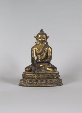 <em>Seated Buddha Shakyamuni</em>, ca. 1500. Gilt bronze, 8 1/16 x 5 13/16 x 3 15/16 in. (20.5 x 14.8 x 10 cm). Brooklyn Museum, Gift of Mr. and Mrs. Edward Greenberg, 80.260.2. Creative Commons-BY (Photo: Brooklyn Museum, 80.260.2_PS5.jpg)