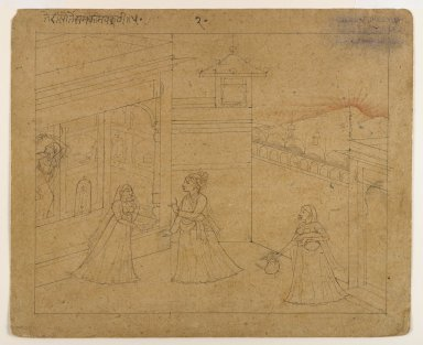 Indian. <em>Lovers Parting at Dawn</em>, ca. 1800. Ink on paper, sheet: 4 1/4 x 5 1/2 in.  (10.8 x 14.0 cm). Brooklyn Museum, Gift of Marilyn W. Grounds, 80.261.11 (Photo: Brooklyn Museum, 80.261.11_IMLS_PS4.jpg)