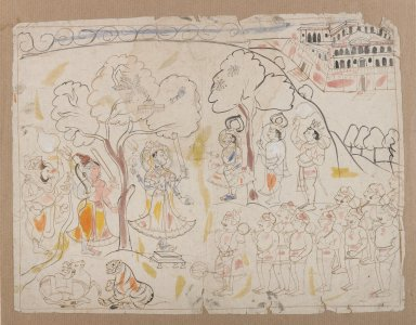 Indian. <em>Rama, Lakshmana, and Hanuman Worshiping Shiva and Durga</em>, ca. 1850. Ink and color on paper, sheet: 10 5/8 x 8 3/8 in.  (27.0 x 21.3 cm). Brooklyn Museum, Gift of Marilyn W. Grounds, 80.261.12 (Photo: Brooklyn Museum, 80.261.12_IMLS_PS4.jpg)