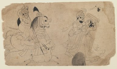 Indian. <em>Raja Hunting/Raja Making Love</em>, ca. 1825. Ink on paper, sheet: 5 1/2 x 9 1/4 in.  (14.0 x 23.5 cm). Brooklyn Museum, Gift of Marilyn W. Grounds, 80.261.13 (Photo: Brooklyn Museum, 80.261.13_IMLS_PS3.jpg)