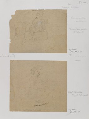 Indian. <em>Portrait of Takuh Halkanah Dikhani</em>, ca. 1825. Ink on paper, sheet: 4 1/4 x 5 1/2 in.  (10.8 x 14.0 cm). Brooklyn Museum, Gift of Marilyn W. Grounds, 80.261.15 (Photo: , 80.261.14_80.261.15_IMLS_PS4.jpg)