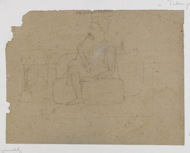 Indian. <em>Portrait of Takuh Halkanah Dikhani</em>, ca. 1825. Ink on paper, sheet: 4 1/4 x 5 1/2 in.  (10.8 x 14.0 cm). Brooklyn Museum, Gift of Marilyn W. Grounds, 80.261.15 (Photo: Brooklyn Museum, 80.261.15_IMLS_PS4.jpg)