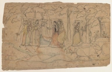 Indian. <em>Krishna and Balarama Exact a Toll, Scene from a Bhagavata Purana Series</em>, ca. 1800. Ink and color on paper, sheet: 6 1/2 x 10 3/8 in.  (16.5 x 26.4 cm). Brooklyn Museum, Gift of Marilyn W. Grounds, 80.261.16 (Photo: Brooklyn Museum, 80.261.16_IMLS_PS3.jpg)