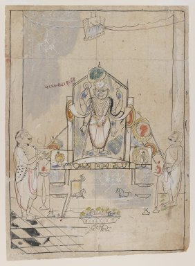 Indian. <em>Worship of Shri Nathaji</em>, ca. 1825-1850. Ink and color on paper, sheet: 13 3/8 x 9 3/4 in.  (34.0 x 24.8 cm). Brooklyn Museum, Gift of Marilyn W. Grounds, 80.261.17 (Photo: Brooklyn Museum, 80.261.17_IMLS_PS3.jpg)