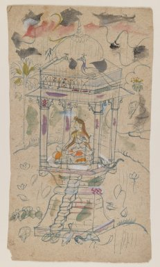 Indian. <em>Gaundmalar of Ganda Malhara Ragini</em>, ca. 1850. Ink and color on paper, sheet: 9 1/8 x 5 1/8 in.  (23.2 x 13.0 cm). Brooklyn Museum, Gift of Marilyn W. Grounds, 80.261.18 (Photo: Brooklyn Museum, 80.261.18_IMLS_PS3.jpg)