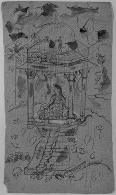 Indian. <em>Gaundmalar of Ganda Malhara Ragini</em>, ca. 1850. Ink and color on paper, sheet: 9 1/8 x 5 1/8 in.  (23.2 x 13.0 cm). Brooklyn Museum, Gift of Marilyn W. Grounds, 80.261.18 (Photo: Brooklyn Museum, 80.261.18_bw_IMLS.jpg)