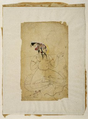 Indian. <em>Bejewled Maharaja</em>, ca. 1740-1750. Ink and color on paper, sheet: 8 1/2 x 5 1/8 in.  (21.6 x 13 cm). Brooklyn Museum, Gift of Marilyn W. Grounds, 80.261.19 (Photo: Brooklyn Museum, 80.261.19_IMLS_SL2.jpg)
