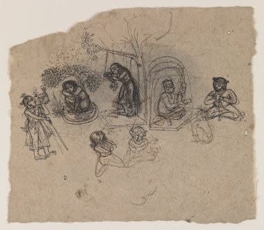 Indian. <em>Figure Studies</em>, ca. 1750. Ink on paper, pounced for transfer, sheet: 5 x 5 7/8 in.  (12.7 x 14.9 cm). Brooklyn Museum, Gift of Marilyn W. Grounds, 80.261.20 (Photo: Brooklyn Museum, 80.261.20_IMLS_PS3.jpg)