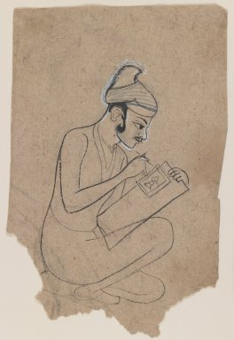 Indian. <em>Artist Sketching</em>, ca. 1800. Ink with white outline on paper, sheet: 5 3/8 x 3 1/2 in.  (13.7 x 8.9 cm). Brooklyn Museum, Gift of Marilyn W. Grounds, 80.261.21 (Photo: Brooklyn Museum, 80.261.21_IMLS_PS3.jpg)