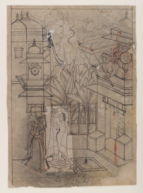 Indian. <em>Raja on a Balcony Viewing a Lady at her Toilette</em>, ca. 1770. Ink with orange highlights on paper, pounced for transfer, sheet: 11 3/8 x 8 in.  (28.9 x 20.3 cm). Brooklyn Museum, Gift of Marilyn W. Grounds, 80.261.22 (Photo: Brooklyn Museum, 80.261.22_IMLS_PS4.jpg)