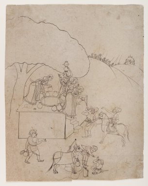 Indian. <em>Ladies at a Well Aiding a Traveler</em>, ca. 1770. Ink on paper, sheet: 12 5/8 x 9 3/4 in.  (32.1 x 24.8 cm). Brooklyn Museum, Gift of Marilyn W. Grounds, 80.261.23 (Photo: Brooklyn Museum, 80.261.23_IMLS_PS4.jpg)