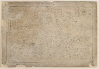 Indian. <em>Battle Scene, Scene from a Ramayana Series</em>, ca. 1735. Ink on paper, sheet: 7 3/4 x 11 1/4 in.  (19.7 x 28.6 cm). Brooklyn Museum, Gift of Marilyn W. Grounds, 80.261.24 (Photo: Brooklyn Museum, 80.261.24_recto_IMLS_PS3.jpg)