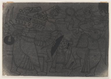 Indian. <em>Ramayana Scene</em>, ca. 1850. Ink on paper, pounced for transfer, sheet: 8 3/8 x 12 in.  (21.3 x 30.5 cm). Brooklyn Museum, Gift of Marilyn W. Grounds, 80.261.25 (Photo: Brooklyn Museum, 80.261.25_IMLS_PS3.jpg)