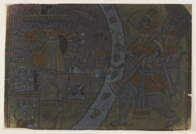 Indian. <em>Ramayana Scene</em>, ca. 1850. Ink on paper, pounced for transfer, sheet: 8 1/4x 12 1/2 in.  (21.3 x 30.5 cm). Brooklyn Museum, Gift of Marilyn W. Grounds, 80.261.26 (Photo: Brooklyn Museum, 80.261.26_IMLS_PS3.jpg)