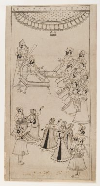 Indian. <em>Raja Enthroned with Courtiers, Musicians, and Nautch Girls in Attendance</em>, ca. 1750. Ink with gray wash on paper, sheet: 17 1/4 x 8 7/8 in.  (43.8 x 22.5 cm). Brooklyn Museum, Gift of Marilyn W. Grounds, 80.261.27 (Photo: Brooklyn Museum, 80.261.27_IMLS_PS4.jpg)