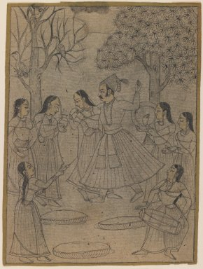 Indian. <em>Raja and Ladies at Holi Festival</em>, ca. 1725. Ink with color on paper, pounced for transfer, sheet: 7 3/16 x 5 3/8 in.  (18.3 x 13.7 cm). Brooklyn Museum, Gift of Marilyn W. Grounds, 80.261.28 (Photo: Brooklyn Museum, 80.261.28_IMLS_PS3.jpg)