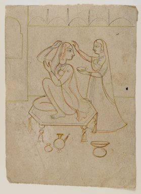 Indian. <em>Radha at her Toilette</em>, ca. 1725. Ink and color on paper, sheet: 8 1/8 x 5 3/4 in.  (20.6 x 14.6 cm). Brooklyn Museum, Gift of Marilyn W. Grounds, 80.261.2 (Photo: Brooklyn Museum, 80.261.2_IMLS_PS4.jpg)