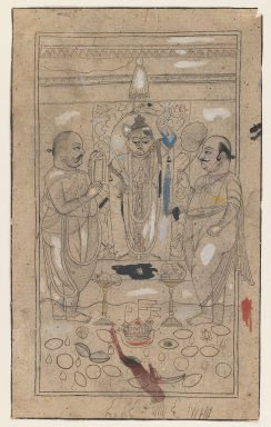 Indian. <em>Shri Nathaji and Devotees</em>, ca. 1810. Ink and color on paper, pounced for transfer, sheet: 9 3/8 x 5 11/16 in.  (23.8 x 14.4 cm). Brooklyn Museum, Gift of Marilyn W. Grounds, 80.261.30 (Photo: Brooklyn Museum, 80.261.30_IMLS_PS3.jpg)