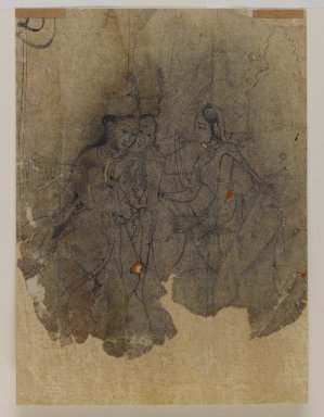 Indian. <em>Ladies Drinking</em>, ca. 1670. Ink, pounced along outline for transfer, sheet: 5 7/8 x 4 1/4 in.  (14.9 x 10.8 cm). Brooklyn Museum, Gift of Marilyn W. Grounds, 80.261.31 (Photo: Brooklyn Museum, 80.261.31_IMLS_PS4.jpg)