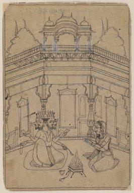 Indian. <em>Khambavati Ragini</em>, ca. 1700. Ink on paper, sheet: 7 1/16 x 4 3/4 in.  (17.9 x 12.1 cm). Brooklyn Museum, Gift of Marilyn W. Grounds, 80.261.34 (Photo: Brooklyn Museum, 80.261.34_IMLS_PS3.jpg)