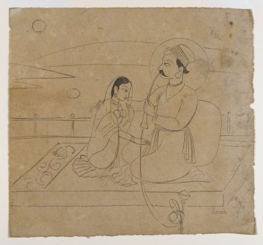 Indian. <em>A Prince Holding a Hookah Embraces his Lady</em>, ca. 1750. Ink on paper, sheet: 6 3/4 x 7 1/4 in.  (17.1 x 18.4 cm). Brooklyn Museum, Gift of Marilyn W. Grounds, 80.261.36 (Photo: Brooklyn Museum, 80.261.36_IMLS_PS4.jpg)