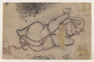 Indian. <em>Elephant in Chains</em>, ca. 1780. Red and Black ink on paper, sheet: 7 3/4 x 12 in.  (19.7 x 30.5 cm). Brooklyn Museum, Gift of Marilyn W. Grounds, 80.261.37 (Photo: Brooklyn Museum, 80.261.37_IMLS_PS3.jpg)