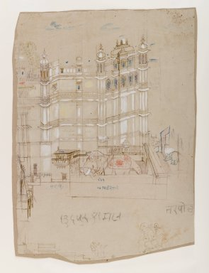 Indian. <em>Palace Scene</em>, ca. 1850. Sepia ink and color on paper, sheet: 14 3/4 x 10 1/2 in.  (37.5 x 26.7 cm). Brooklyn Museum, Gift of Marilyn W. Grounds, 80.261.39 (Photo: Brooklyn Museum, 80.261.39_IMLS_PS4.jpg)