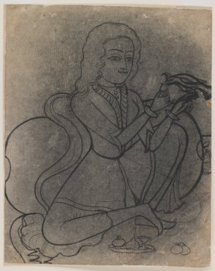Indian. <em>European Girl Feeding a Parrot</em>, ca. 1780. Ink on paper, pounced for transfer, sheet: 8 5/8 x 6 3/4 in.  (21.9 x 17.1 cm). Brooklyn Museum, Gift of Marilyn W. Grounds, 80.261.40 (Photo: Brooklyn Museum, 80.261.40_IMLS_PS3.jpg)