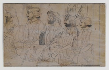 Indian. <em>Portraits of Dhian, Gulab, Ranbir, Sohan, and Udham Singh</em>, ca. 1820. Ink with white wash on paper, sheet: 4 1/2 x 7 1/4 in.  (11.4 x 18.4 cm). Brooklyn Museum, Gift of Marilyn W. Grounds, 80.261.41 (Photo: Brooklyn Museum, 80.261.41_PS4.jpg)