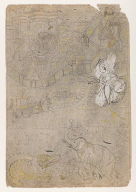 Indian. <em>Gajendra Moksha</em>, ca. 1775. Ink on paper, pounced for transfer, sheet: 12 3/8 x 8 3/8 in.  (31.4 x 21.3 cm). Brooklyn Museum, Gift of Marilyn W. Grounds, 80.261.5 (Photo: Brooklyn Museum, 80.261.5_IMLS_PS4.jpg)