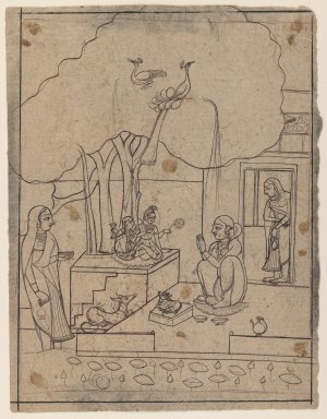 Indian. <em>Bhairavi Ragini</em>, ca. 1760. Ink on paper, sheet: 8 1/2 x 6 1/2 in.  (21.6 x 16.5 cm). Brooklyn Museum, Gift of Marilyn W. Grounds, 80.261.6 (Photo: Brooklyn Museum, 80.261.6_IMLS_PS3.jpg)
