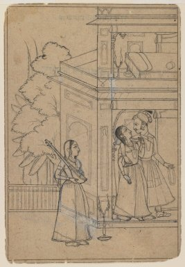Indian. <em>Marva Ragini Malkosa</em>, ca. 1725. Ink and color on paper, sheet: 7 x 4 3/4 in.  (17.8 x 12.1 cm). Brooklyn Museum, Gift of Marilyn W. Grounds, 80.261.7 (Photo: Brooklyn Museum, 80.261.7_IMLS_PS3.jpg)
