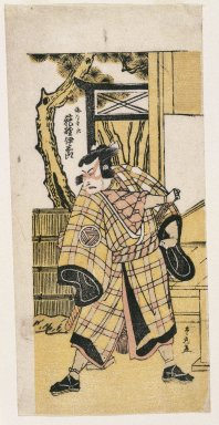 Utagawa Toyomaru (Japanese, active 1785-1797). <em>Actor</em>, ca 1780. Color woodblock print on paper, 12 x 5 1/4 in. (30.5 x 13.3 cm). Brooklyn Museum, Gift of Dr. William E. Harkins, 80.264.1 (Photo: Brooklyn Museum, 80.264.1_print_IMLS_SL2.jpg)