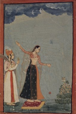 Style of Mughal. <em>Lady with a Yo-yo</em>, ca. 1770. Opaque watercolor and gold on paper, sheet: 9 1/4 x 6 3/16 in.  (23.5 x 15.7 cm). Brooklyn Museum, Gift of Alan Kirschbaum, 80.268.1 (Photo: Brooklyn Museum, 80.268.1.jpg)