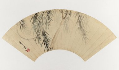 Suzuki Kiitsu (Japanese, 1796-1858). <em>Willow and Moon (Fan Painting)</em>, 19th century. Fan painting, ink and light color on paper, Image: 9 1/2 x 20 1/2 in. (24.1 x 52.1 cm). Brooklyn Museum, Gift of Trudel Klefisch, 80.269. Creative Commons-BY (Photo: Brooklyn Museum, 80.269_IMLS_PS3.jpg)