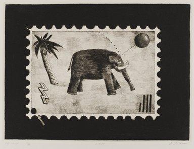 Carl T. Chew (American, born 1948). <em>Big Stamp</em>, 1979. Drypoint, Image: 8 11/16 x 11 3/4 in. (22 x 29.8 cm). Brooklyn Museum, Designated Purchase Fund, 80.26. © artist or artist's estate (Photo: Brooklyn Museum, 80.26_PS4.jpg)
