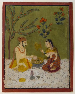 Indian. <em>Couple Seated Under a Tree</em>, ca. 1700. Opaque watercolors, gold, and silver on paper, sheet: 5 3/4 x 4 9/16 in.  (14.6 x 11.6 cm). Brooklyn Museum, Anonymous gift, 80.277.13 (Photo: Brooklyn Museum, 80.277.13_IMLS_PS4.jpg)