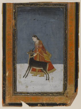 Indian. <em>Lady with a Black Buck</em>, ca. 1750. Opaque watercolors and gold on paper, sheet: 8 1/2 x 6 1/4 in.  (21.6 x 15.9 cm). Brooklyn Museum, Anonymous gift, 80.277.15 (Photo: Brooklyn Museum, 80.277.15_IMLS_PS4.jpg)