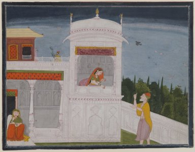 Indian. <em>The Brahmin Sudama and Rukmini in a Palace, Page from the Sudama Episode of Bhagavata Purana Series</em>, ca. 1800 or later. Opaque watercolor on paper, sheet: 8 13/16 x 11 7/16 in.  (22.4 x 29.1 cm). Brooklyn Museum, Anonymous gift, 80.277.17 (Photo: Brooklyn Museum, 80.277.17_IMLS_PS4.jpg)