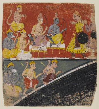 Indian. <em>Rama and Lakshmana Receive Envoys, Page from a Dispersed Ramayana Series</em>, ca. 1634. Opaque watercolor on paper, 6 7/8 x 6 1/4in. (17.5 x 15.9cm). Brooklyn Museum, Anonymous gift, 80.277.2 (Photo: Brooklyn Museum, 80.277.2_IMLS_PS4.jpg)