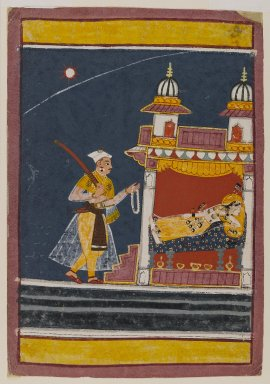 Indian. <em>Lalita Ragini</em>, ca. 1650. Opaque watercolor and gold on paper, sheet: 8 1/2 x 5 3/4 in.  (21.6 x 14.6 cm). Brooklyn Museum, Anonymous gift, 80.277.3 (Photo: Brooklyn Museum, 80.277.3_IMLS_PS4.jpg)