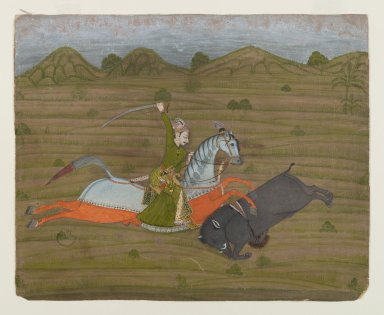 Indian. <em>Prince Hunting Wild Boar (Miniature Painting)</em>, ca. 1765. Opaque watercolors and gold on paper, sheet: 7 3/16 x 8 7/8 in.  (18.3 x 22.5 cm). Brooklyn Museum, Anonymous gift, 80.277.5 (Photo: Brooklyn Museum, 80.277.5_IMLS_PS4.jpg)