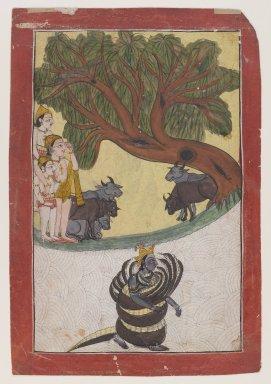 Indian. <em>Kaliyadamana</em>, ca. 1760-1770. Opaque watercolor on paper, sheet: 10 3/8 x 7 1/8 in.  (26.4 x 18.1 cm). Brooklyn Museum, Anonymous gift, 80.277.7 (Photo: Brooklyn Museum, 80.277.7_IMLS_PS4.jpg)