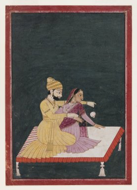 Attributed to Bhagvan. <em>Harsha Hambira Kalyana Raga</em>, before 1795. Opaque watercolor and gold on paper, sheet: 9 7/16 x 6 5/8 in.  (24.0 x 16.8 cm). Brooklyn Museum, Anonymous gift, 80.277.8 (Photo: Brooklyn Museum, 80.277.8_IMLS_PS4.jpg)
