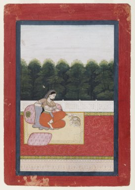 Indian. <em>Dhanashri Ragini, Page from a Ragamala Series</em>, ca. 1790 or earlier. Opaque watercolor and gold on paper, sheet: 10 x 6 15/16 in.  (25.4 x 17.6 cm). Brooklyn Museum, Anonymous gift, 80.277.9 (Photo: Brooklyn Museum, 80.277.9_IMLS_PS4.jpg)