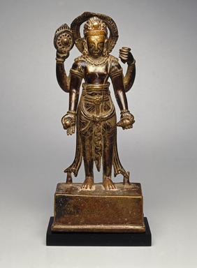 <em>Standing Vishnu</em>, 9th-10th century. Copper alloy, Height 9 1/2 in. (24.1 cm). Brooklyn Museum, Gift of Cynthia Hazen Polsky, 80.278.1. Creative Commons-BY (Photo: Brooklyn Museum, 80.278.1_SL1.jpg)