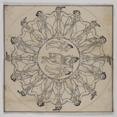 <em>Rasa-lila (Drawing)</em>, 19th century. Ink and slight ink wash on paper, 9 x 8 3/4 in. (22.9 x 22.3 cm). Brooklyn Museum, Gift of Cynthia Hazen Polsky, 80.278.3 (Photo: Brooklyn Museum, 80.278.3_IMLS_PS4.jpg)
