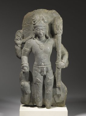 <em>Standing Shiva with His Mount Nandi</em>, 5th century. Dark gray-green stone, 20 1/2 in. (52.1 cm). Brooklyn Museum, Gift of Mr. and Mrs. Robert L. Poster, 80.279. Creative Commons-BY (Photo: Brooklyn Museum, 80.279_PS6.jpg)