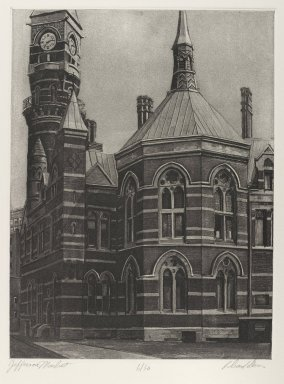 Richard Haas (American, born 1936). <em>Jefferson Market</em>, 1976. Aquatint, photo-engraving, Sheet: 18 13/16 x 14 15/16 in. (47.8 x 37.9 cm). Brooklyn Museum, Gift of Stephen and Nora Gano, 80.293.17. © artist or artist's estate (Photo: Brooklyn Museum, 80.293.17_PS4.jpg)